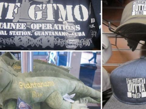 A composite image showing items for sale in a US Navy gift shop in Guantanamo Bay, Cuba.