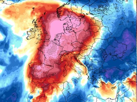 Mapa de anomalía de temperaturas para el domingo