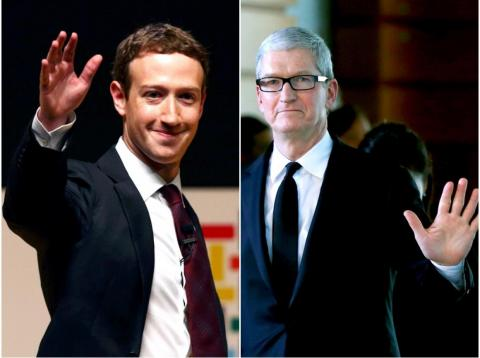 Mark Zuckerberg y Tim Cook.