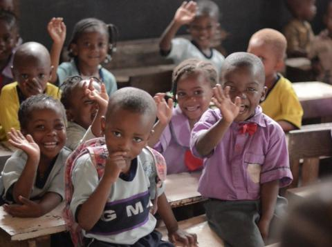 Alumnos de una clase del Morit International School Ajegunle