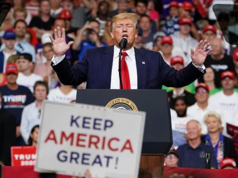 President Donald Trump at the launch of his 2020 campaign at the Amway Center in Orlando, Florida, June 18, 2019.