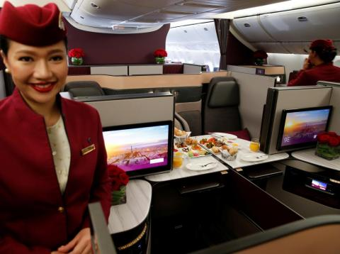 A Qatar Airways crew member.