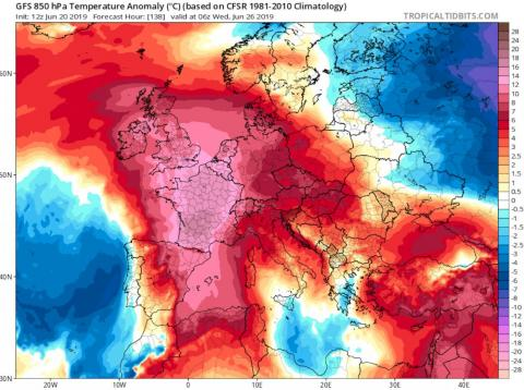 The temperature anomaly across Europe as on June 26, 2019.
