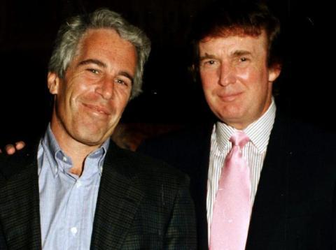 The American financier Jeffrey Epstein and the real-estate developer Donald Trump at Trump's Mar-a-Lago estate in Palm Beach, Florida, in 1997.