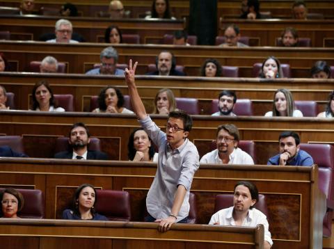 Errejón, en su escaño de diputado en el Congreso cuando era miembro de Podemos.