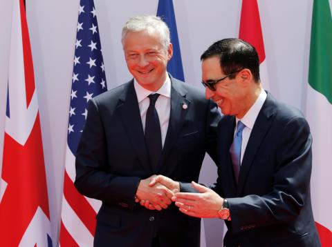El ministro francés de Finanzas, Bruno Le Maire, y el secretario del Tesoro de EE.UU., Steve Mnuchin