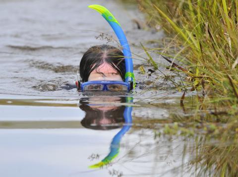 Una mujer hace snorkel en un río.
