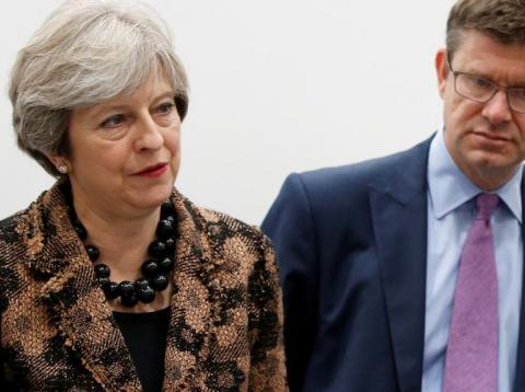 Outgoing Prime Minister Theresa May and Business Secretary Greg Clark.