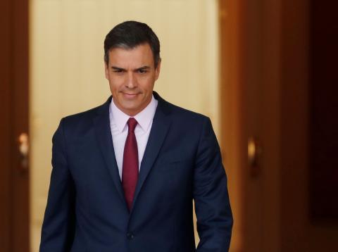 Sánchez, en el Palacio de la Moncloa.