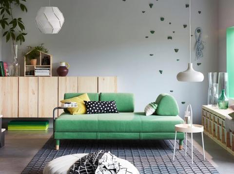 sofa verde Ikea
