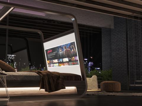 Cama de diseño con enorme pantalla de 70 pulgadas HD