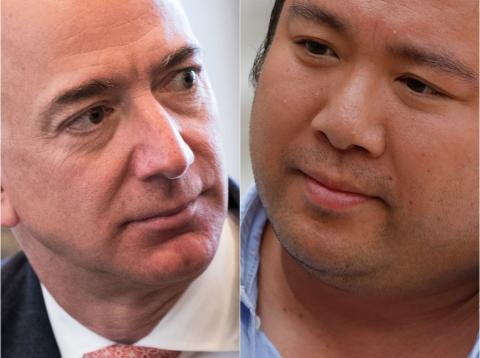 Jeff Bezos, CEO de Amazon, y Will Shu, fundador de Deliveroo