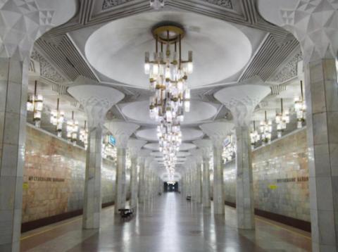The shimmering interior of the Tashkent subway system.