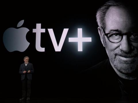 """Acclaimed filmmaker Steven Spielberg appeared on stage during the unveiling of Apple TV Plus. He's heading up a reboot of the """"Amazing Stories"""" TV series."""
