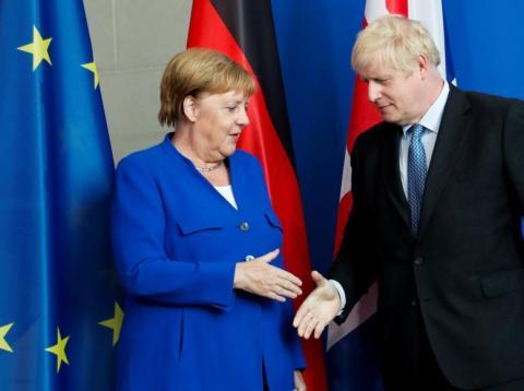 Angela Merkel and Boris Johnson.