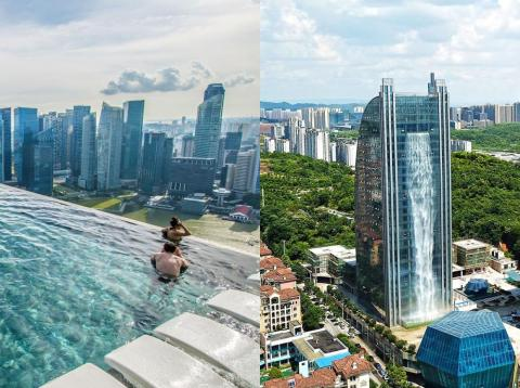 From a building with a 350-foot waterfall to one with the world's largest infinity pool, these skyscrapers are not for the faint of heart.