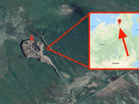 Imagen por satélite del cráter siberiano de Batagaika