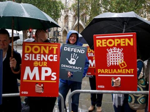 Demonstrators protest outside the Supreme Court in London, Britain September 24, 2019.