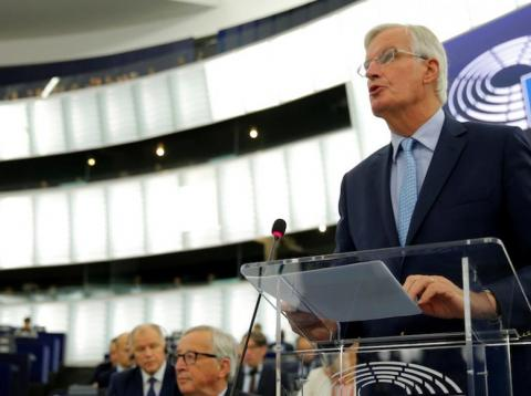 European Union's chief Brexit negotiator Michel Barnier addresses the plenary of the European Parliament on Britain's withdrawal from the European Union during a debate on Brexit at the European Parliament in Strasbourg, France,
