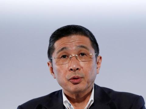 FILE PHOTO - Nissan CEO Hiroto Saikawa attends a news conference in Yokohama