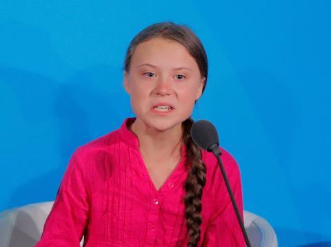 Greta Thunberg, durante su discurso en las Naciones Unidas.