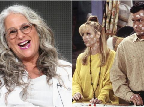 "Marta Kauffman, left, and Lisa Kudrow and Charlie Sheen in ""The One With The Chicken Pox."""