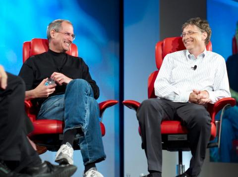 Steve Jobs y Bill Gates en 2007.