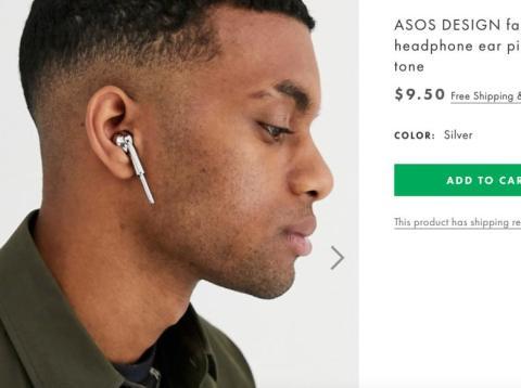 """ASOS ahora está vendiendo un """"auricular de imitación en tono plateado"""" que no funciona."""