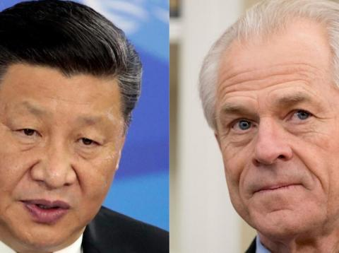A composite image of Chinese President Xi Jinping and White House trade adviser Peter Navarro.