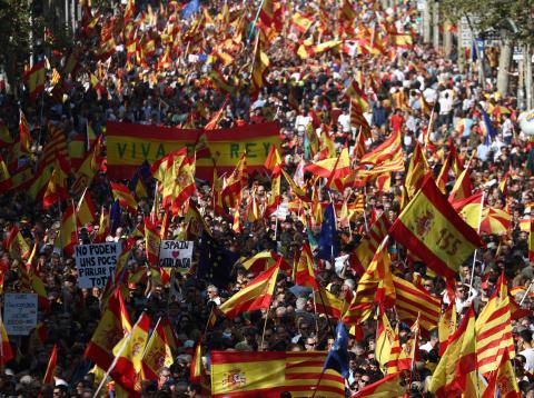 Manifestación de los constitucionalistas en Barcelona