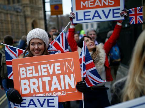 Una manifestación de partidarios del Brexit.
