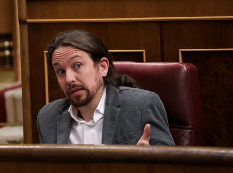 Pablo Iglesias, durante una sesión en el Congreso de los Diputados
