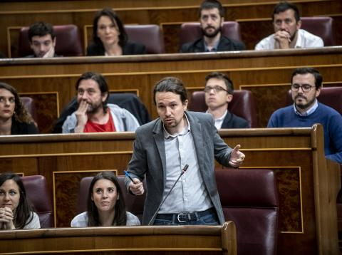Pablo Iglesias en una sesión de control al Gobierno en el Congreso de los Diputados.