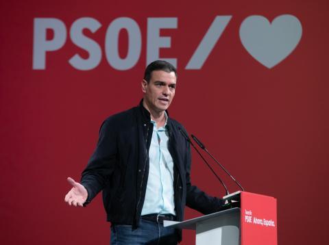 Pedro Sánchez, en la precampaña de las elecciones del 10-N.