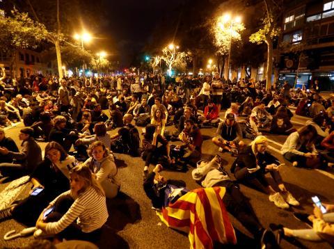 Protestas en la Diagonal de Barcelona contra la sentencia del procés