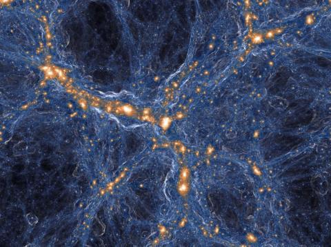 Una vista simulada de la densidad de la materia oscura (azul) y la materia visible (naranja) en la red cósmica del universo.
