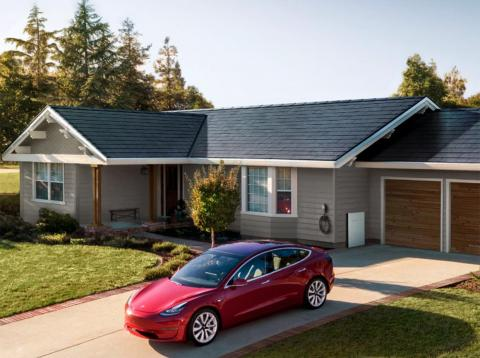 """A view of Tesla's new """"solarglass"""" roof."""