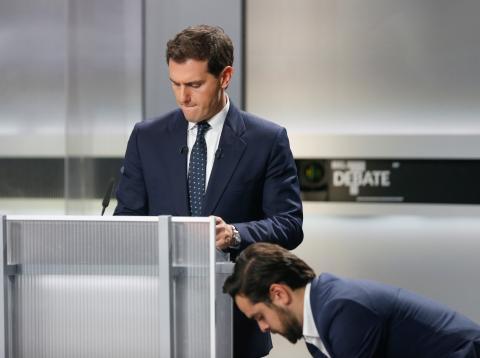 Albert Rivera minutos antes de comenzar el debate.