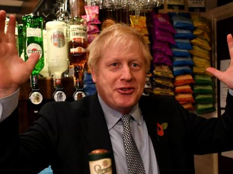 Britain's Prime Minister Boris Johnson campaign at the Lynch Gate Tavern, in Wolverhampton