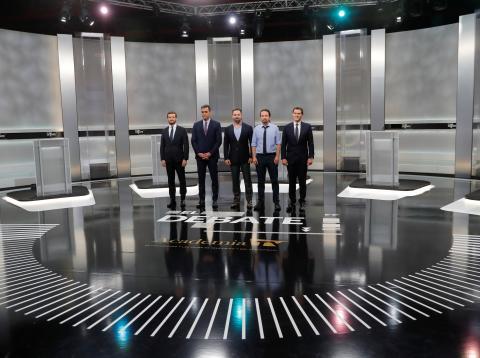 Los candidatos en el debate a cinco del 4-N.