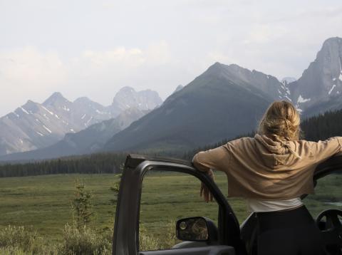 Chica mirando al campo desde el coche