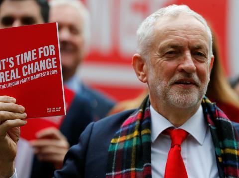 Jeremy Corbyn, líder del partido Laborista, en la presentación del programa electoral.