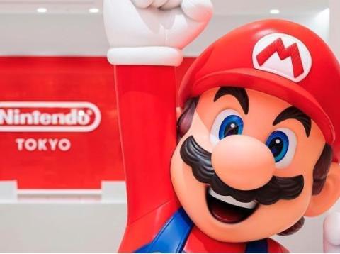 Nintendo mascot Super Mario greets customers at Nintendo Tokyo, the company's first retail store in Japan.