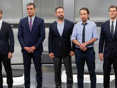 Pablo Casado, Pedro Sánchez, Santiago Abascal, Pablo Iglesias y Albert Rivera