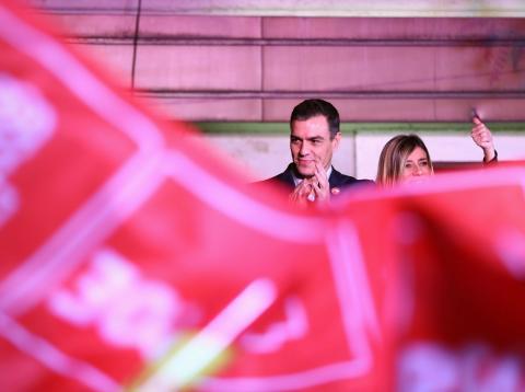 Pedro Sánchez, en la celebración de las elecciones de noviembre 2019