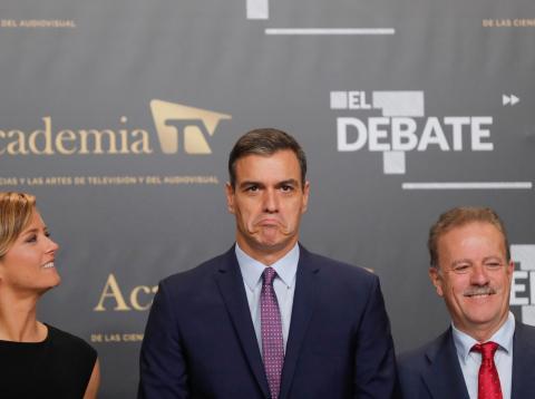Pedro Sánchez, a su llegada al debate a cinco