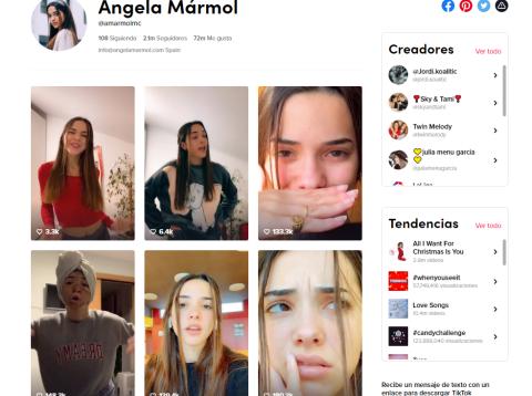 Cuenta de TikTok de Ángela Mármol.