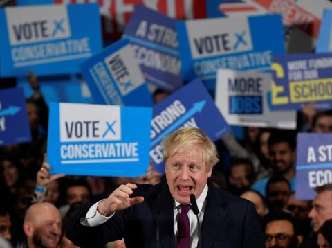 Boris Johnson, durante un mitin electoral
