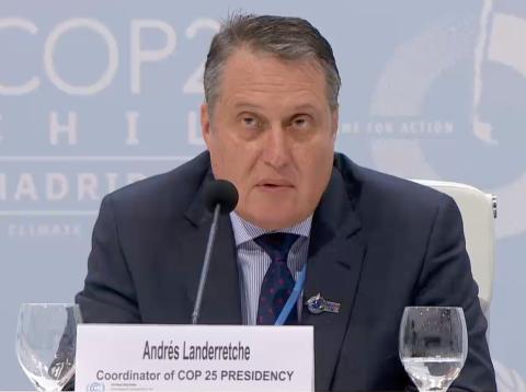 El coordinador de la delegación chilena en la COP25, Andrés Landerretche.