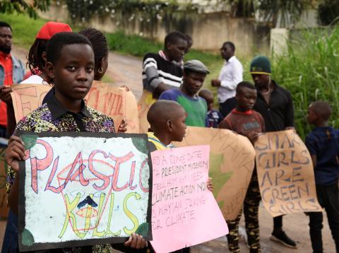 Huelga de estudiantes por el clima en Kampala, Uganda